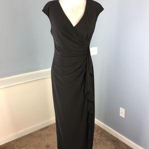 New Kasper 8 10 $119 black maxi dress Ruffle
